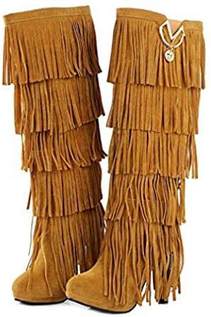 Bubumei Damen Stiletto-Stiefel mit Fransen und Quasten, Kunstwildleder, Mokassin, hoher Absatz, Western Cowboy, kniehohe Stiefel