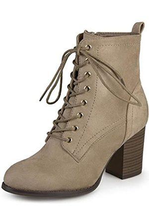 Journee Collection Damen Schnürschuhe mit gestapeltem Absatz, (taupe)