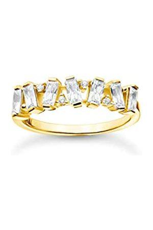 Thomas Sabo Vergoldeter Ring mit Zirkonia Steinen im Baguette-Schliff in verschiedenen Fassungen, 750 Vergoldung, 925 Sterlingsilber, Ringgröße 58