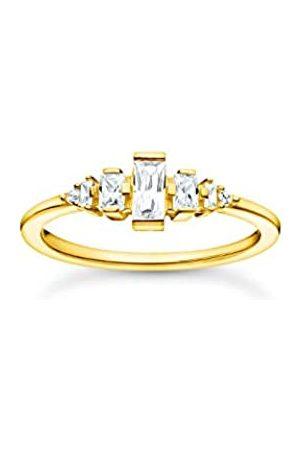 Thomas Sabo Ring in mit Zirkonia Steinen in verschiedenen Größen und Formen, 750 Vergoldung, 925 Sterlingsilber, Ringgröße 56