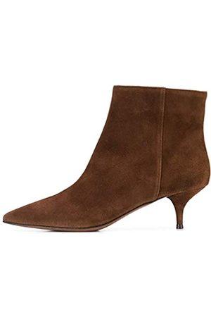 YDN Damen Western Low Heels Stiletto-Stiefel spitze Zehen Kätzchen Knöchel Booties für Büro, Braun (Braune Schlupfschuhe)