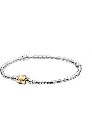 PANDORA Moments Schlangen-Gliederarmband mit Zylinderverschluss Bicolor, aus Sterling- und 14 Karat , Länge: 19cm