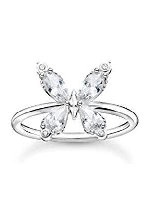 Thomas Sabo Ring in, Schmetterling mit Zirkonia Steinen im Rund-, Marquise- und Tropfenschliff, 925 Sterlingsilber, Ringgröße 54