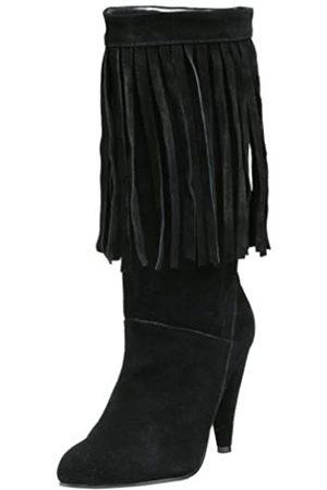 N.Y.L.A. Damen Fransen Stiefel, Schwarz (Schwarze Velourslederoptik)