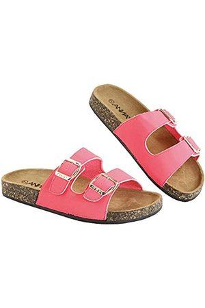 Anna Van Toor Glory Damen Slide Sandalen Kork Fußbett Doppelschnalle, (Nubukleder pink)