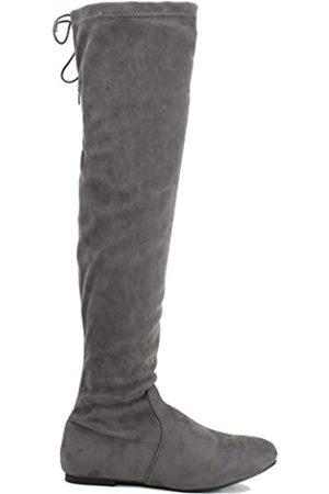 Nature Breeze Vickie-41Th Damen Stiefel Stretch Oberschenkelhoch Flache Ferse Halbe Größe S, ( 40)