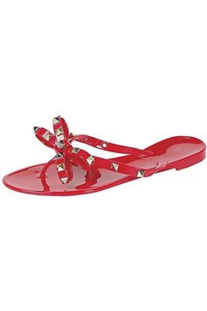 Forever Link Damen-Sandalen mit Nieten und Schleife, Flip-Flops