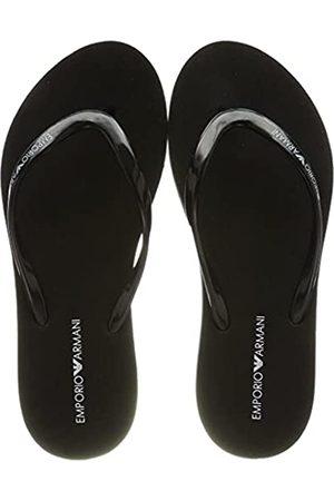 Emporio Armani Damen Swimwear Essential Flip-Flop, Black+White+Black