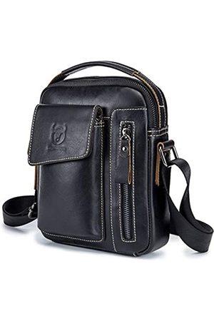 BULLCAPTAIN Herren-Handtasche aus echtem Leder, kleine Schultertasche, Kuriertasche, für den täglichen Gebrauch, Reisen, Handtasche mit mehreren Fächern, Mini-Aktentasche