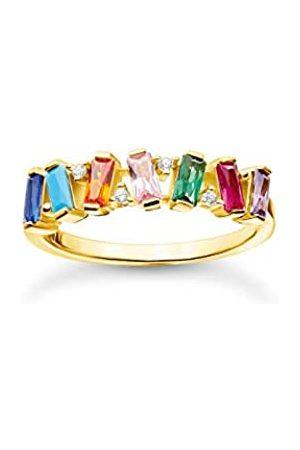 Thomas Sabo Ring mit verschiedenfarbigen Zirkonia Steinen im Baguette-Schliff, 750 Vergoldung, 925 Sterlingsilber, Ringgröße 52