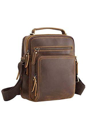 Texbo Leder Messenger Bag für Herren Vollnarbenleder Crossbody Schultertasche Business Arbeit Männer Geldbörse