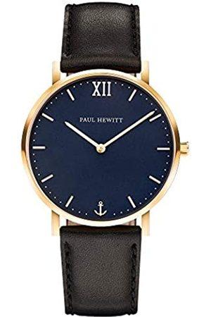 Paul Hewitt Armbanduhr Männer Edelstahl Sailor Line Blue Lagoon - Herren Uhr Lederarmband , Herren Armbanduhr