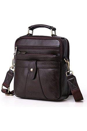 Langzu Herren Echtleder Messenger Umhängetasche Handtasche Crossbody Aktentasche, (Kaffee-6013)