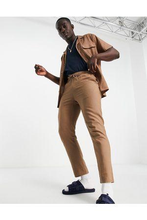 ASOS – Schmal geschnittene Hose aus einer Leinenmischung in mit elastischem Bund, Kombiteil