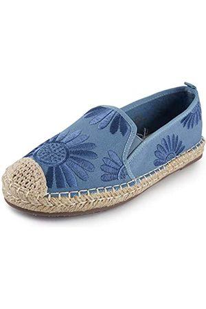ALEXIS Damen Espadrilles Loafer Schuhe mit geschlossenem Zehenbereich, Blumenmuster, bestickt