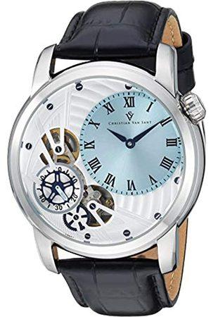 Christian Van Sant Herren Uhren - Herren-Armbanduhr, Quarz, Edelstahl, analoges Lederarmband, Schwarz