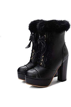 Elyffany Lolita-Schuhe für Damen mit hohem Absatz, aus Polyurethan, zum Schnüren, mit Schleife, knöchelhoch