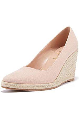 Ruanyu Damen Plateau Espadrilles Keil Sandalen Slip On Geschlossene Zehen Bequeme Keilpumps Schuhe, Pink (rose)