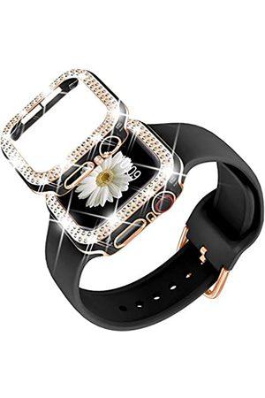 DABAOZA Kompatibel mit Apple Watch 42 mm Armband mit Glitzer-Bumper Hülle, Frauen schwarz Silikon weich bequem verstellbar Armband mit Rosegold Schnalle für iWatch Serie 3/2/1 (Blackrosegold