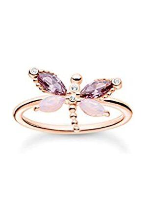 Thomas Sabo Ring Libelle in mit Zirkonia Steinen in Violett und Rosa, 750 Vergoldung, 925 Sterlingsilber, Ringgröße 54