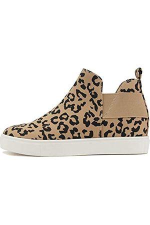 Soda Diana – Schlupfschuh, versteckter Keilabsatz, modischer Sneaker mit elastischen Gore-Einsätzen, Mehrfarbig (Hellbraun Leopard)
