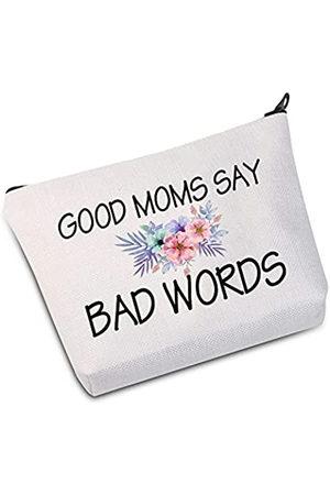 """JXGZSO Lustige Make-up-Tasche für Mütter, Geschenk für Mütter, mit Aufschrift """"Good Moms Say Bad Words"""", Zubehörbeutel"""