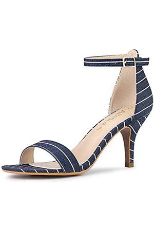 Allegra K Damen-Sandalen, gestreift, Knöchelriemen, Stiletto-Absatz, (Demin Blue)