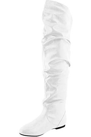 Nature Breeze Oberschenkelhohe, dehnbare Damenstiefel, ( - White Pu)