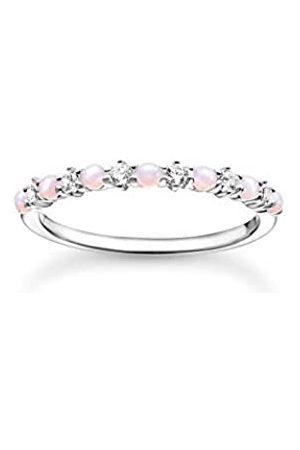 Thomas Sabo Filigraner Ring, 925 Sterlingsilber, weiße Zirkonia Steine und rosa Opal-Imitation im French Setting, Ringgröße 54