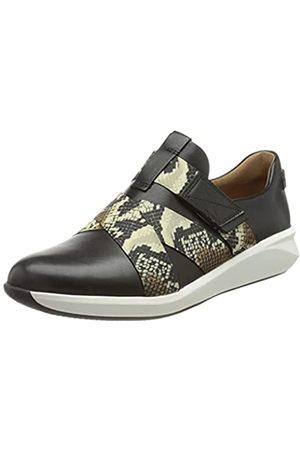 Clarks Damen Un Rio Strap Sneaker, Black Leather/Snake Combi