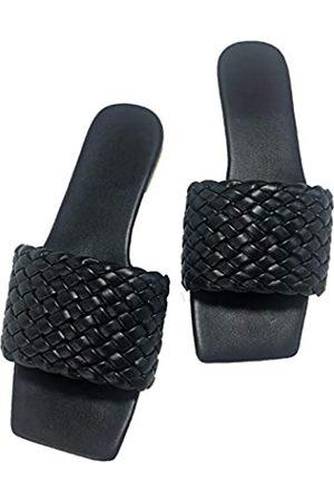 Generic Sandalen für Frauen Flats Strand Slides Sommer Haus Hausschuhe Sandalen für Frauen Square Toe Geflochtene weiße Schuhe