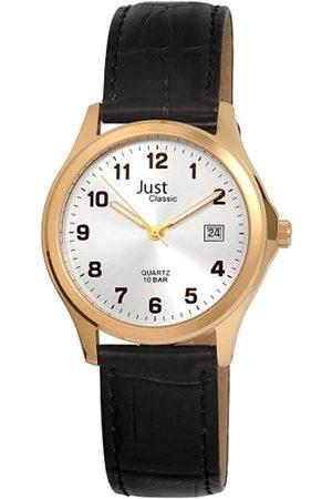 Just Watches Herren-Armbanduhr XL Analog Quarz Leder 48-S11025A-GD