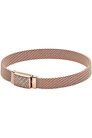 PANDORA Reflexions Pavé-Armband mit langem Verschluss, Länge: 16cm, 14 Karat rosévergoldete Metalllegierung, Verschiedene Größen erhältlich