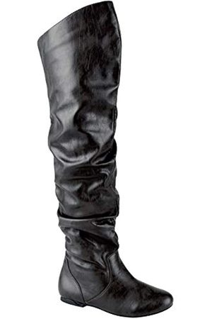 Nature Breeze Women's Stretchy Thigh High Boot (Pu Black