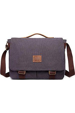 Nobranded Damen und Herren Messenger Bag Canvas Schultertasche Vintage Canvas Echtleder 15 Zoll Laptop Umhängetasche