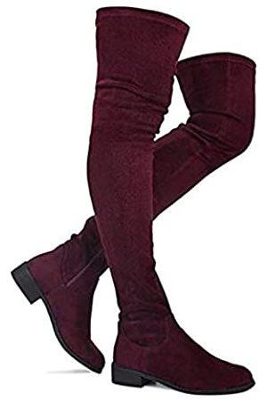 Nature Breeze Olympia 20 Damen Stiefel, dehnbar, mit seitlichem Reißverschluss, niedriger Absatz, Rot (burgunderfarben)