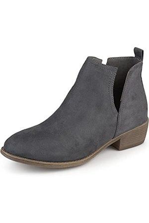 Journee Collection Damen Stiefel aus Wildlederimitat mit runder Zehenpartie