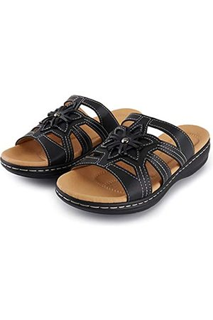 ALEXIS Damen-Sandalen mit Blumenmuster, offener Zehenbereich, bequem, Keilabsatz, Slide Sandalen