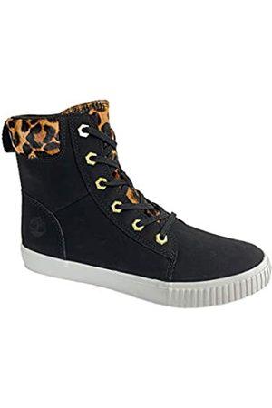 Timberland Women's Skyla Bay 6 Inch Nubuck Leather Sneaker Boots (Black/Cheetah Print