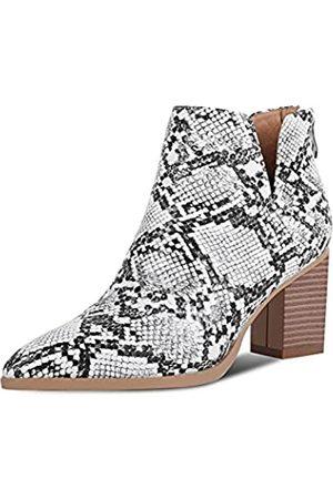 wetkiss Damen Schlangenhaut-Stiefeletten, Schlupfstiefel für Damen, Schlangenleder-Stiefel, Chunky Block, Mid Heels, modische Schuhe, (Snake-kx066)