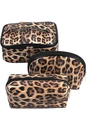 Fitini Make-up-Tasche für Reisen, groß, Kulturbeutel, 3er-Pack, tragbar, Kosmetik-Organizer, Tasche mit kleinem Pinsel, Aufbewahrungstasche, goldener Reißverschluss, wasserdicht
