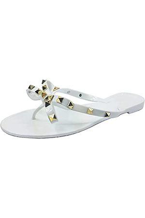 TruFox Damen Flip-Flops mit Nieten und Schleife, offene Zehenpartie