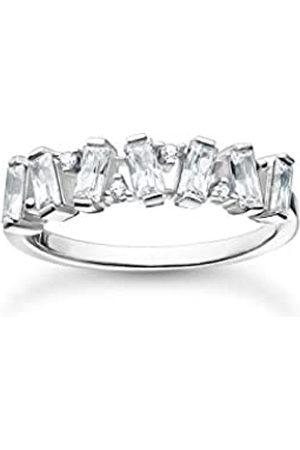 Thomas Sabo Ring mit Zirkonia Steinen im Baguette-Schliff in verschiedenen Fassungen, 925 Sterlingsilber, Ringgröße 56