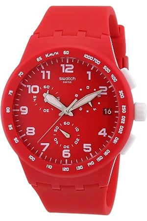 Swatch Unisex-Armbanduhr Chrono Plastic RED Shadow SUSR400 Chronograph Silikon SUSR400