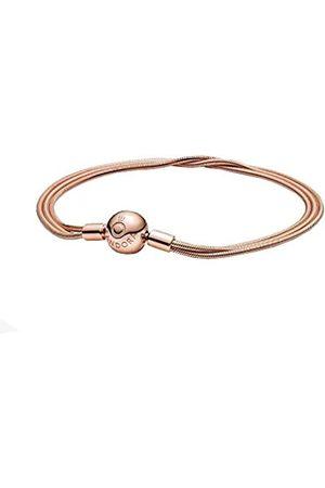 PANDORA Moments Mehrreihiges Schlangen-Gliederarmband, Länge: 19cm, 14 Karat rosévergoldete Metalllegierung