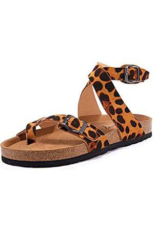 Ermonn Damen Slide Flache Kork Sandalen mit Verstellbarem Riemen Schnalle Offene Zehen Hausschuhe Wildleder Schuhe, (2-Leopard)