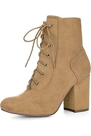 Allegra K Damen Schnürstiefel Chunky Heel Ankle Booties, Braun (khaki)