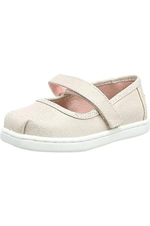 TOMS TINY MARY JANE Rose Gold Iridescent Droplets UK4.0