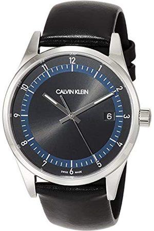 Calvin Klein Herren Analog Quarz Uhr mit Echtes Leder Armband KAM211C1