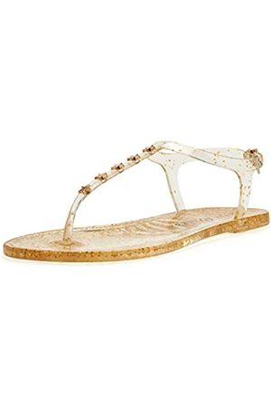Katy perry Damen The Geli Novelty Studded T-Strap Flat Flache Sandale, Stern/klarer Glitzer